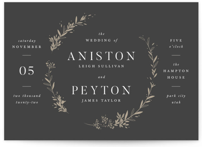 This is a landscape Botanical, classic and formal, grey Wedding Invitations by Robert and Stella called Encircled Wreath with Standard printing on Signature in Classic Flat Card format. Classic wedding invitation featuring a hand drawn wreath
