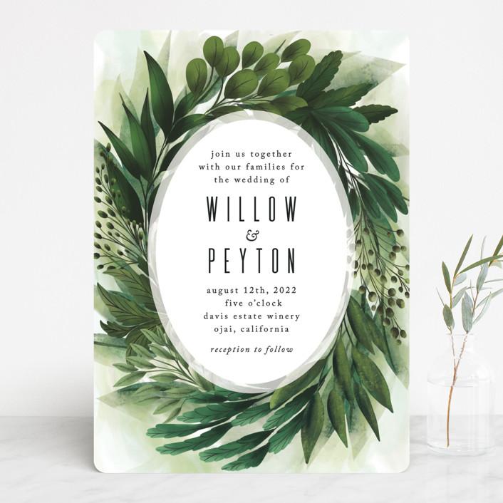 """""""Fresh Greens"""" - Wedding Invitations in Emerald by Susan Moyal."""