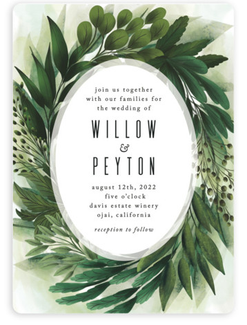 This is a green wedding invitation by Susan Moyal called Fresh Greens with standard printing on signature in standard.