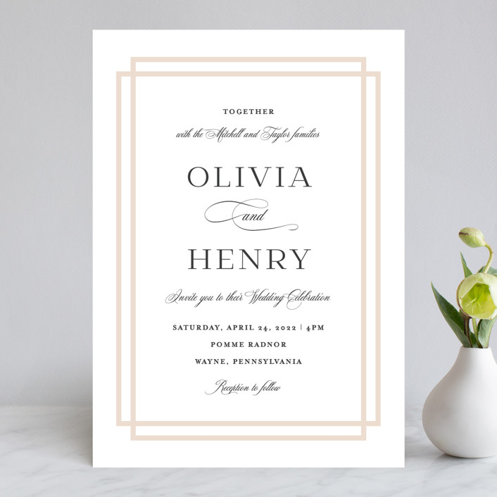"""Timeless Love"" - Wedding Invitations in Blush by Carolyn MacLaren."