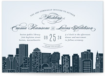 This is a blue wedding invitation by Hooray Creative called Big City - Boston with standard printing on signature in standard.