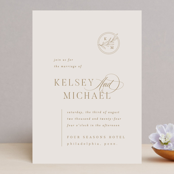 """""""Emblem"""" - Wedding Invitations in Champagne by Everett Paper Goods."""