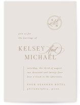 This is a beige wedding invitation by Everett Paper Goods called Emblem with standard printing on signature in standard.