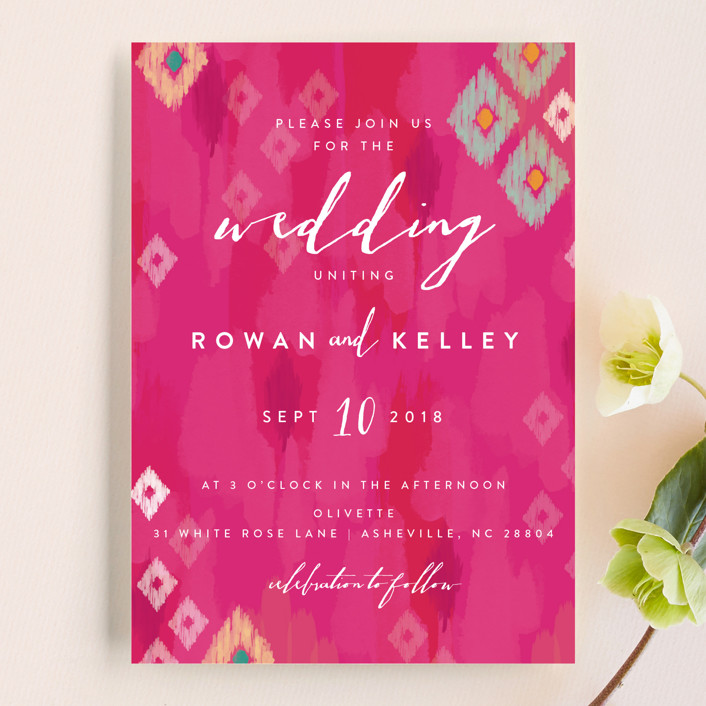"""Boho Ikat"" - Bohemian Wedding Invitations in Fuchsia by Penelope Poppy."