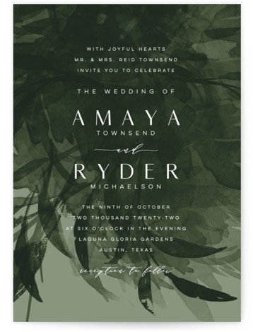 This is a portrait botanical, black, green Wedding Invitations by Melanie Kosuge called AMAYA with Standard printing on Signature in Classic Flat Card format. A modern, romantic wedding invitation featuring original watercolor botanicals and elegant type.