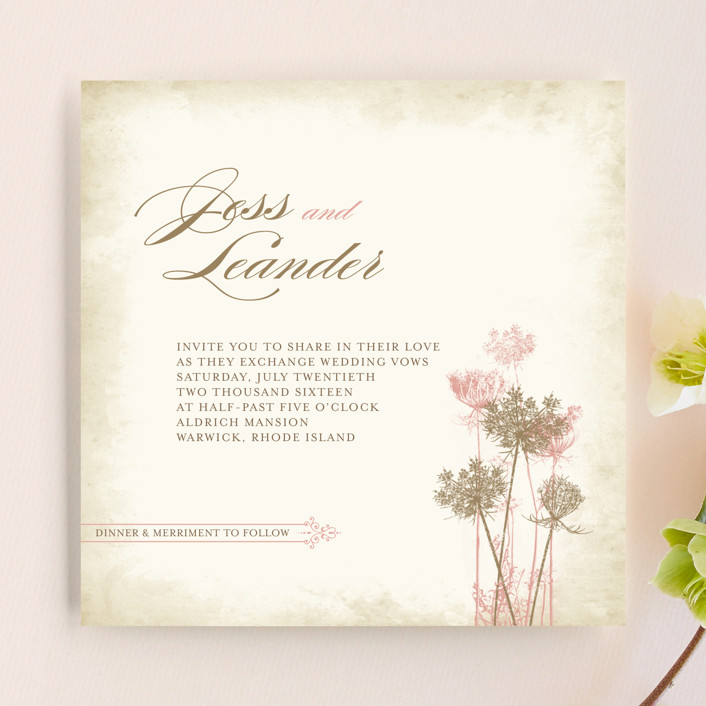 """Rustic Queen Anne"" - Floral & Botanical, Rustic Wedding Invitations in Vintage Rose by Brynn Rose Designs."