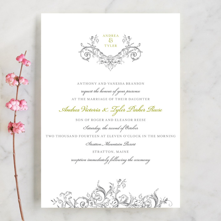 """Victorian Vine Monogram"" - Classical, Vintage Wedding Invitations in Fern by Brynn Rose Designs."