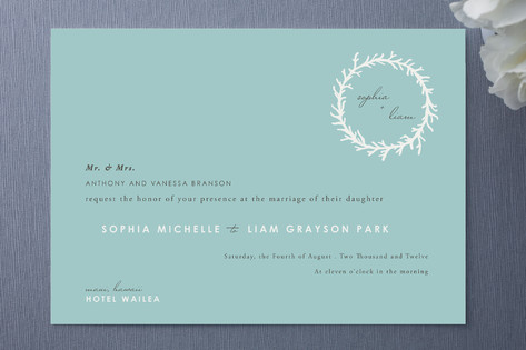 Coral Wreath Wedding Invitations