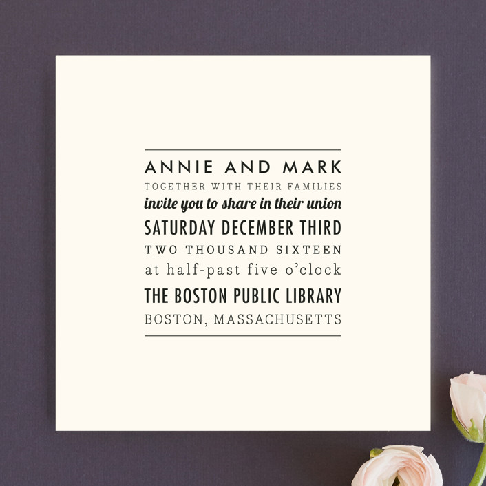the square types wedding invitations in creme by design lotus - Picture Wedding Invitations