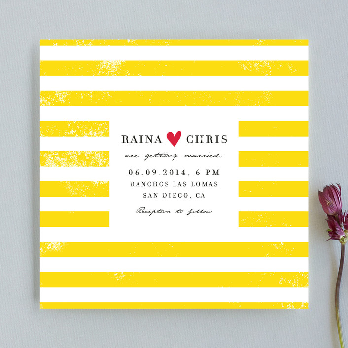 """Bold Stripes"" - Modern Wedding Invitations in Lemon Yellow by flock press."