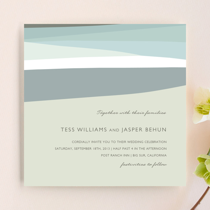 """Sea Scape"" - Modern, Beach Wedding Invitations in Pacific by Griffinbell Paper Co.."