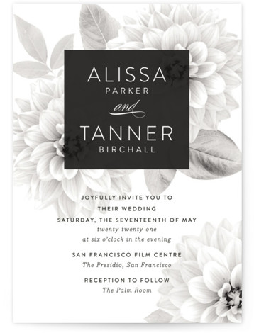This is a portrait botanical, painterly, grey Wedding Invitations by Jill Means called Together Forever with Standard printing on Signature in Classic Flat Card format. Modern yet timeless design with bold type and a subtle monochromatic floral
