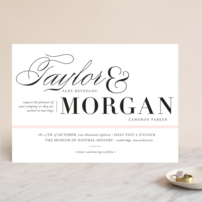 """Darling and Dashing"" - Preppy Wedding Invitations in Blush by Alston Wise."