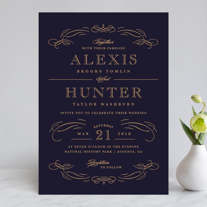"""""""Elegant Flourishes"""" - Vintage, Elegant Wedding Invitations in Navy by Kristen Smith."""