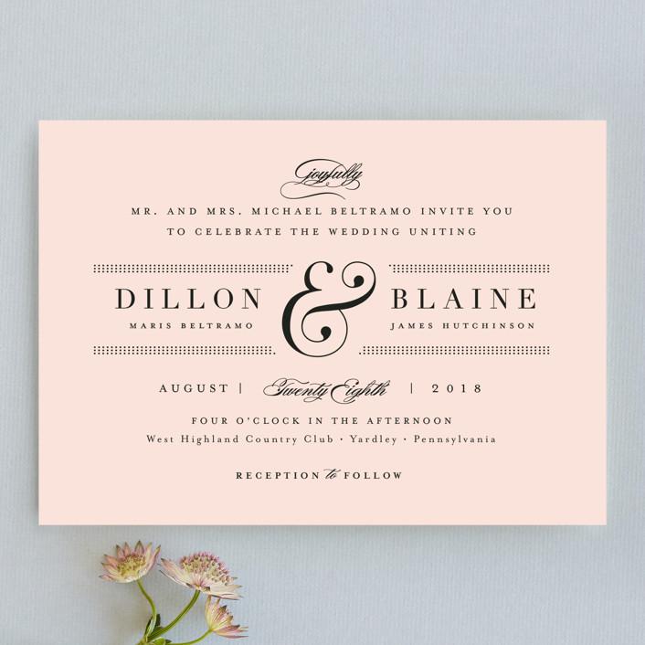"""Formal ampersand"" - Preppy Wedding Invitations in Blush by Jennifer Wick."