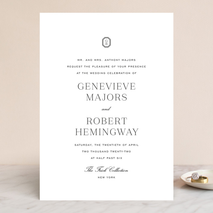"""Upper East"" - Wedding Invitations in Charcoal by Toast & Laurel."