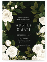 This is a white wedding invitation by Susan Moyal called Rose Garden with standard printing on signature in standard.