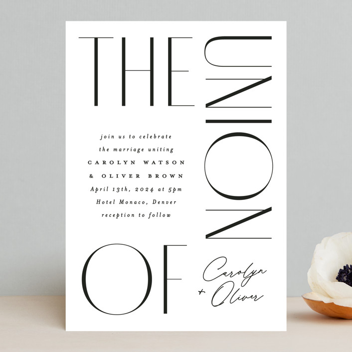 """""""Bold Union"""" - Wedding Invitations in Cloud by Everett Paper Goods."""