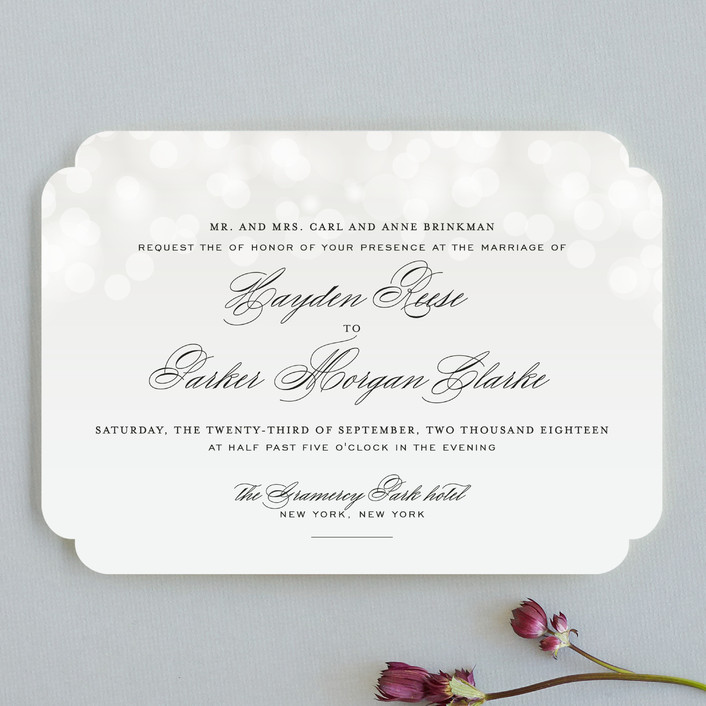"""Starry Eyed"" - Elegant, Classical Wedding Invitations in Cloud by Design Lotus."