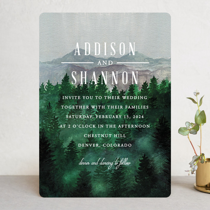 """Adventure Awaits"" - Rustic Wedding Invitations in Smoke by Elly."