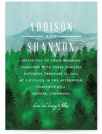 This is a portrait illustrative, painterly, rustic, blue, white, green Wedding Invitations by Elly called Adventure Awaits with Standard printing on Signature in Classic Flat Card format. A landscape watercolour painted background for a brand new adventure that awaits.