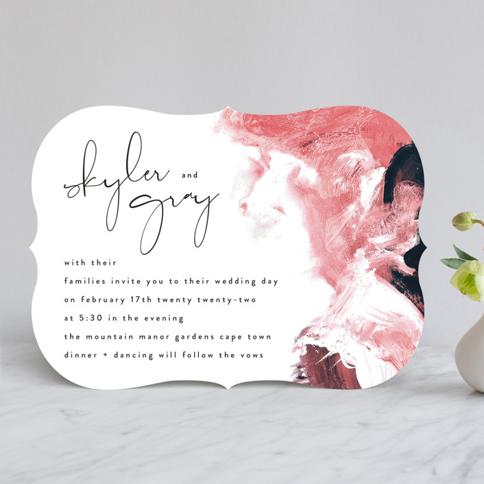 """""""living coral"""" - Modern Wedding Invitations in Coral by Phrosne Ras."""