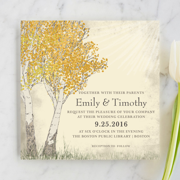 """Fall Tranquility"" - Rustic Wedding Invitations in Sand by Jenifer Martino."