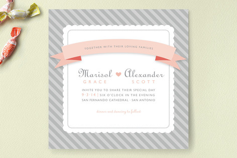 Grey Sugary Stripe Wedding Invitations
