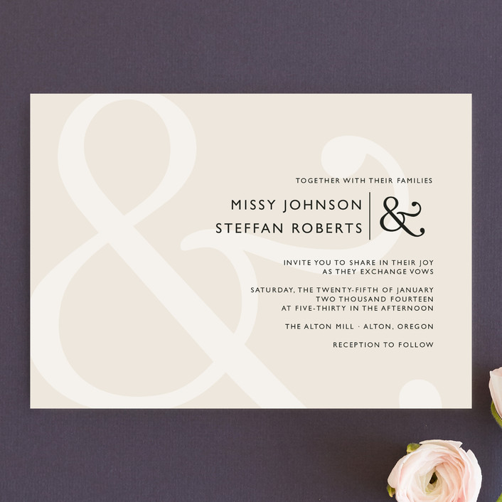"""Ampersand"" - Classical Wedding Invitations in Taupe by Lauren Chism."