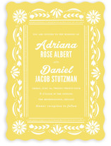This is a yellow wedding invitation by Jessie Steury called Pretty Picado with standard printing on signature in standard.