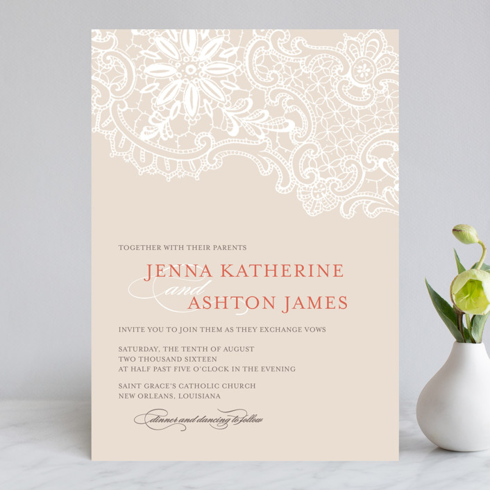 White Lace Vintage Formal Wedding Invitations In C Rose By Lauren Chism