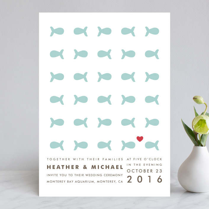 """""""Only Fish for Me"""" - Whimsical & Funny Wedding Invitations in Tropical Sea by Ling Wang."""