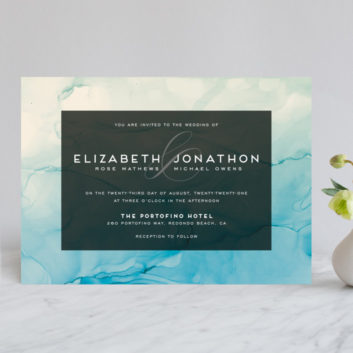 """Ombio"" - Modern Wedding Invitations in Aqua by GeekInk Design."
