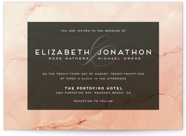 This is a landscape modern, painterly, orange Wedding Invitations by GeekInk Design called Ombio with Standard printing on Signature in Classic Flat Card format. This wedding invite features a hand painted watery background.