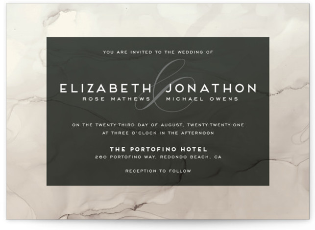 This is a landscape modern, painterly, grey Wedding Invitations by GeekInk Design called Ombio with Standard printing on Signature in Classic Flat Card format. This wedding invite features a hand painted watery background.