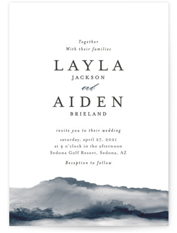 This is a portrait modern, painterly, blue Wedding Invitations by Itsy Belle Studio called Sedona with Standard printing on Signature in Classic Flat Card format. Alcohol inks blend to create this unique wedding invitation.