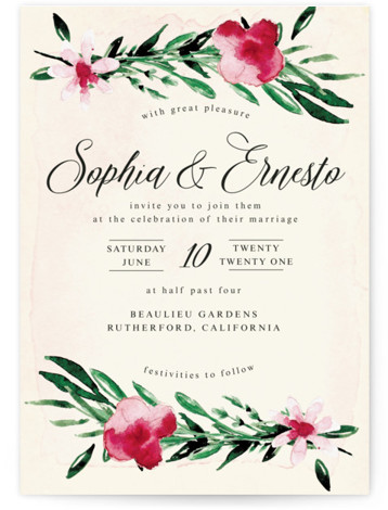 This is a portrait painterly, yellow, green Wedding Invitations by frances called Garden Party Joy with Standard printing on Signature in Classic Flat Card format. Hand painted watercolour florals surround invitation