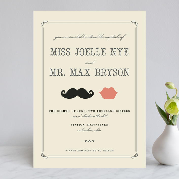 """Stache + Kiss"" - Whimsical & Funny, Vintage Wedding Invitations in Creme by Penelope Poppy."