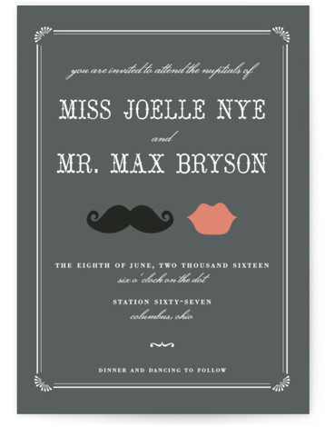 This is a landscape, portrait illustrative, offbeat, vintage, whimsical, grey Wedding Invitations by Penelope Poppy called Stache + Kiss with Standard printing on Signature in Classic Flat Card format.