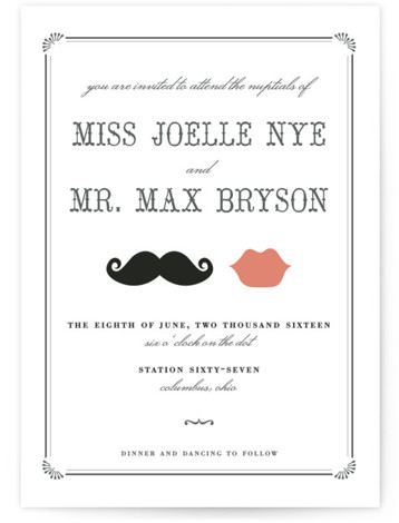 This is a landscape, portrait illustrative, offbeat, vintage, whimsical, black and white Wedding Invitations by Penelope Poppy called Stache + Kiss with Standard printing on Signature in Classic Flat Card format.