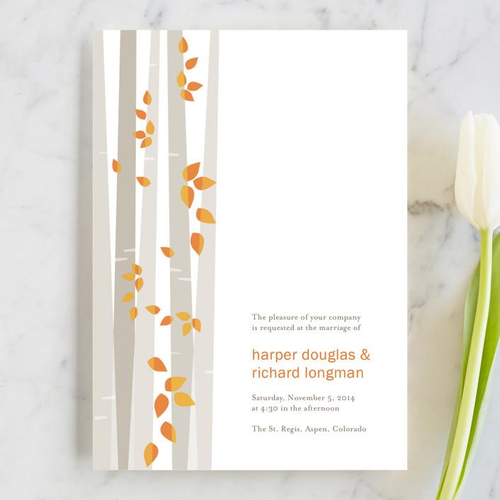 """Into the Woods"" - Modern, Funny Wedding Invitations in Orange by Robin Ott."