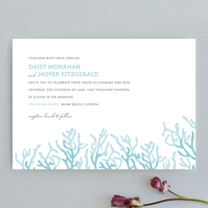 Simple Coral Wedding Invitations by SimpleTe Design | Minted