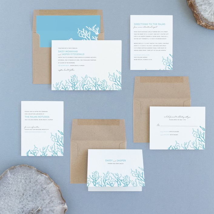Simple Coral Wedding Invitations by SimpleTe Design Minted