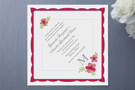 Monogram Hankie Wedding Invitations