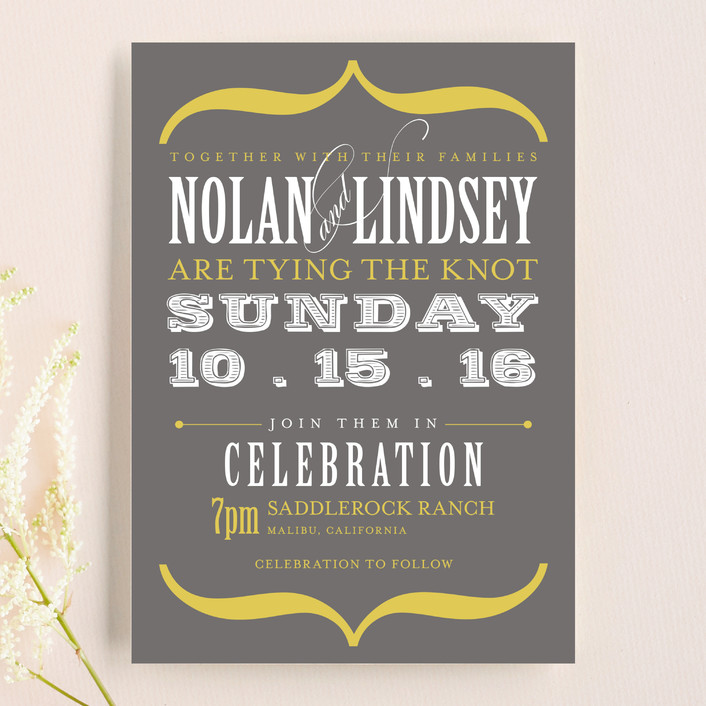"""Bold Brackets"" - Bold typographic Wedding Invitations in Slate by Teresa Lang."