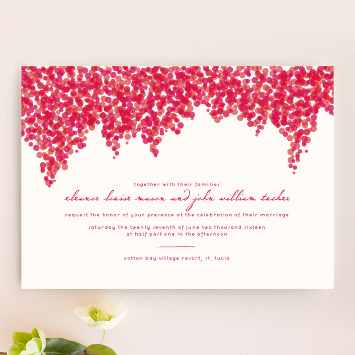 """Bougainvillea"" - Floral & Botanical Wedding Invitations in Bright Fuchsia by Laura Hankins."