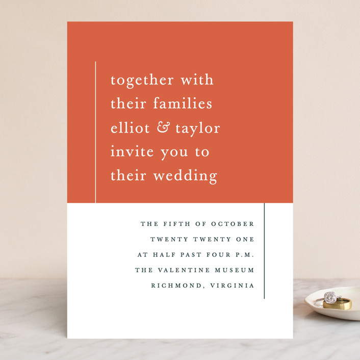 """Evermore"" - Modern Wedding Invitations in Harvest by carly reed walker."