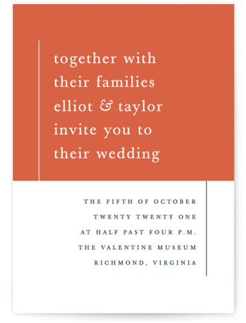 This is a portrait bold and typographic, modern, simple and minimalist, orange Wedding Invitations by carly reed walker called Evermore with Standard printing on Signature in Classic Flat Card format. Simple and type driven, classic color block invitation