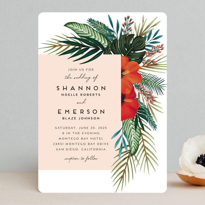 """""""Tropical Oasis"""" - Wedding Invitations in Coral by Joanna Griffin."""