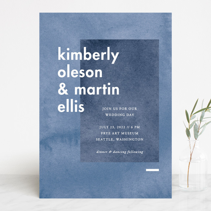 """Contemporary"" - Modern Wedding Invitations in Peony by Liz Conley."